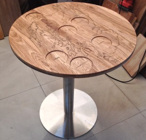 Oak Solid Wood Table Tops Lasering & CNC